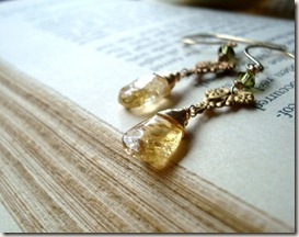 citrine brass drop earr3