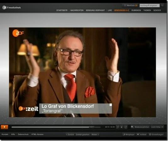 Tortengraf Lo Graf von Blickensdorf im ZDF
