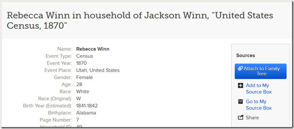 A historical record on FamilySearch.org not yet attached to the tree