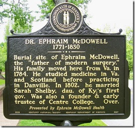 Dr. Ephraim McDowell side of the marker #2281, Danville, KY