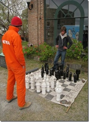 homemade outdoor chess set