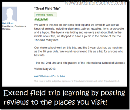 Let your students write a review on trip advisor to increase writing and cognition.