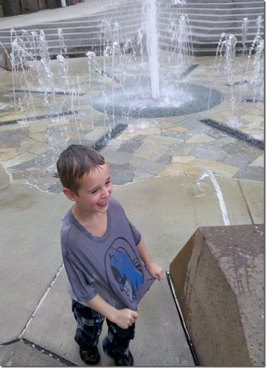 Joseph showing his Momma how SOAKED he is