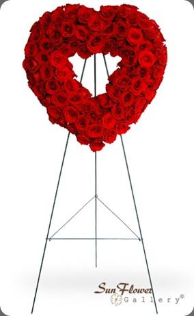 funeral redroseheart_b 100 stems $399.99 chicagofuneralflorist dot com