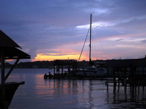 Sunset from the dock at Alton's, Utila, Honduras