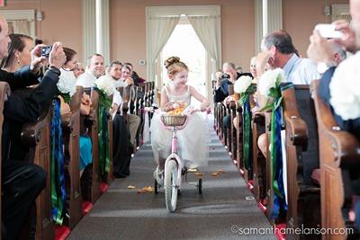 _Samantha_Melanson_ flower girl on tricycle