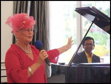 Guest artist, Pauline Grogan, singing for us with Ben Fernandez accompanying on grand piano. Pauline composes her own songs with an emphasis on vocalising a story. Photo courtesy of Dennis Lyons.