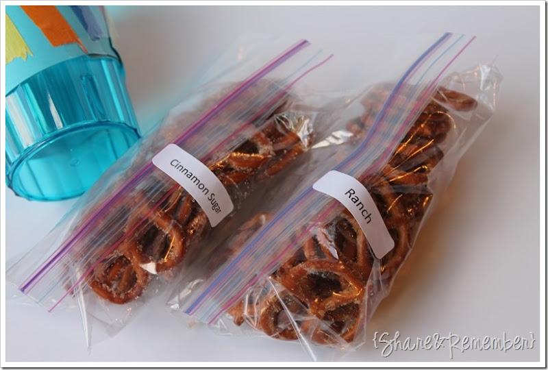 ranch pretzels and cinnamon sugar pretzels
