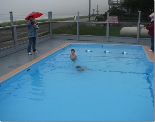 Raining, in the pool