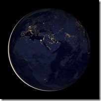 foto bumi malam hari dari nasa - eropa - afrika - timur tengah