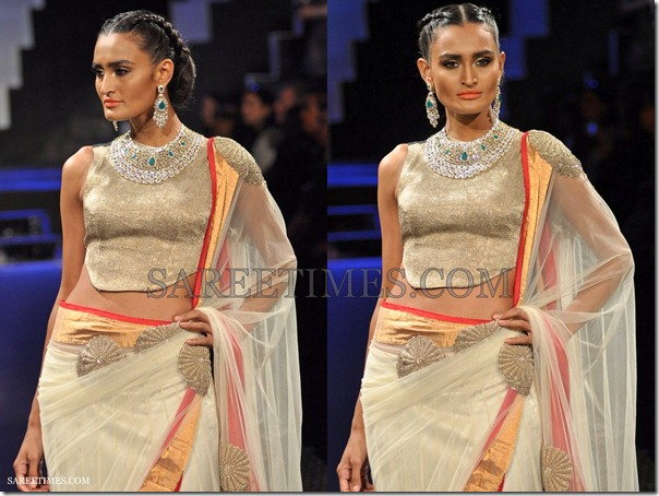 White_Shimmer_Faux_Georgette_Saree