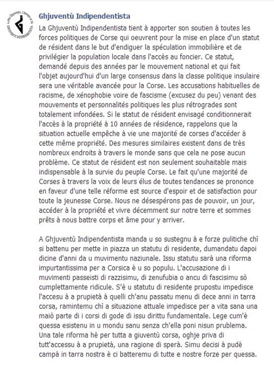 comunicat de premsa de la Joventut Independentista de Corsega