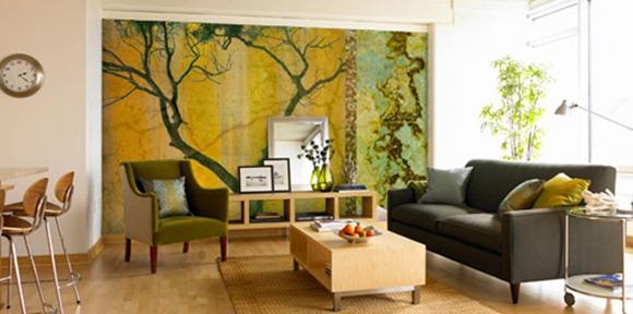 15 ejemplos de salas decoradas con interesantes murales de for Murales en 3d para salas