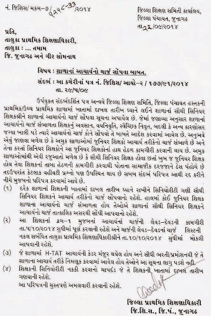 Circular of Principal Charge for Junagadh District Primary Schools