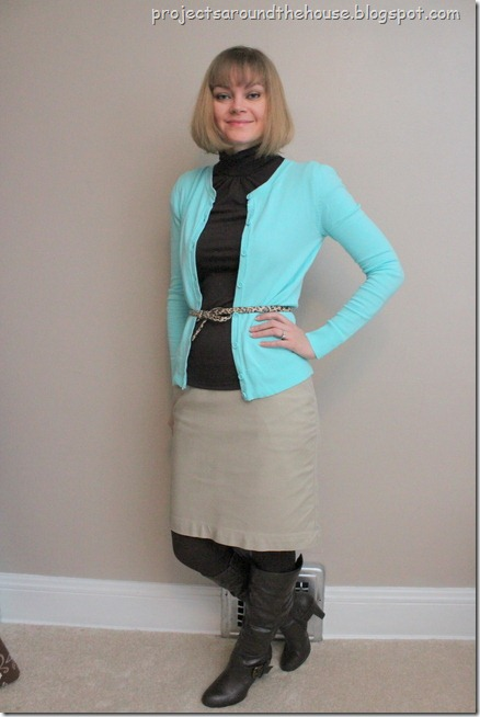 blue cardigan, navy turtleneck, leopard belt