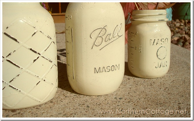 a row of painted mason jars@NorthernCottage.net