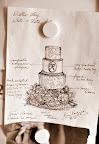 Ana's sketch shows the details she wants to include on each cake tier.