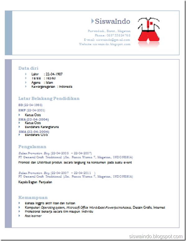 Membuat CV dari template Default Ms Word