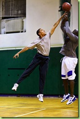 President Barack Obama plays basketball with personal aide Reggie Love at St Bartholomew's Church in New York City, where the President is attending the United Nations General Assembly,  Sept. 23, 2009.   (Official White House photo by Pete Souza)  This official White House photograph is being made available only for publication by news organizations and/or for personal use printing by the subject(s) of the photograph. The photograph may not be manipulated in any way and may not be used in commercial or political materials, advertisements, emails, products, promotions that in any way suggests approval or endorsement of the President, the First Family, or the White House.