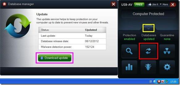 USB-AV aggiornare il database definizioni virus