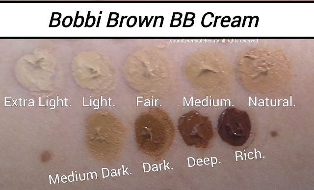 Bobbi Brown Beauty Balm BB Cream; Review & Swatches of Shades Extra Light, Light, Fair, Medium, Natural,  Medium Dark, Dark, Deep, Rich,