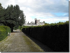 levens hall garden hedge, path, and hall