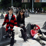 cute cosplay on Jingu Bridge in Harajuku, Tokyo, Japan