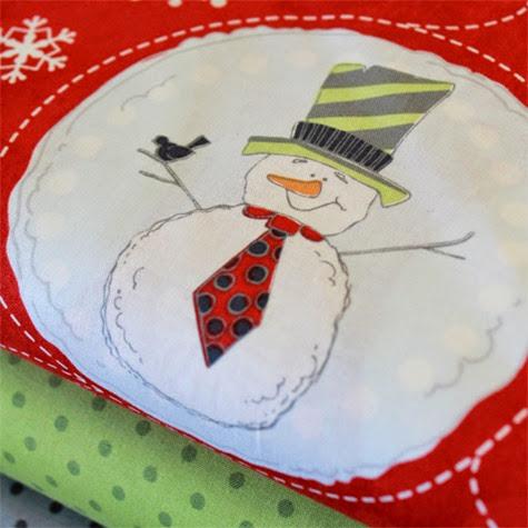 Flaky Pals snowman fabric 2