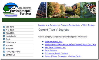 New Hampshire Department of Environmental Current Title V Sources