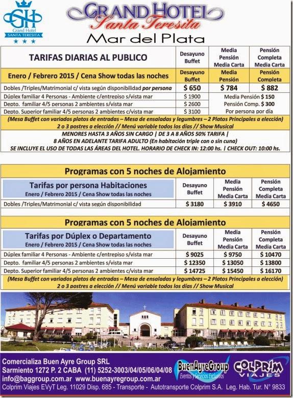 Tarifas Verano 2015 MDQ Santa Teresita
