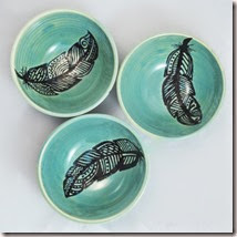 Hand Painted Porcelain Feather Bowl