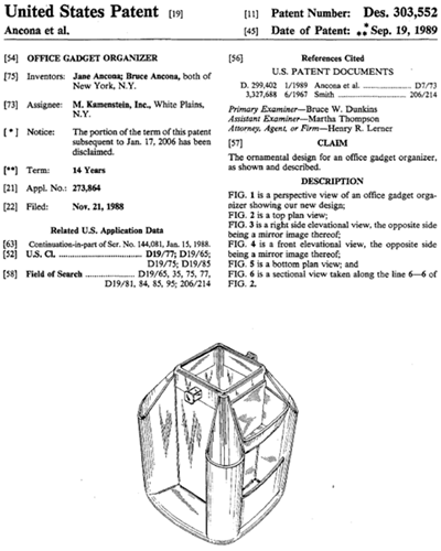 Office Gadget Organizer design patent