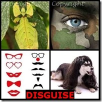 DISGUISE- 4 Pics 1 Word Answers 3 Letters