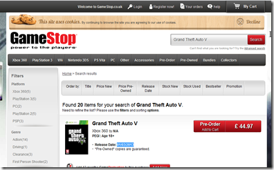 GTA V gamestop