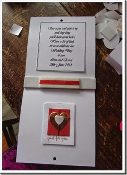 Tattoo themed wedding crafts place card with pins