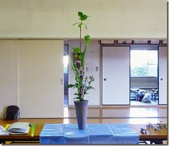 【生花三種生け】紫陽花、菊、オクロレウカ