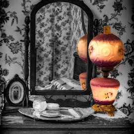 At Grandma's by Karen Celella - Artistic Objects Antiques ( mirror, selective color, dresser, lamp, furniture, antique, bedroom )