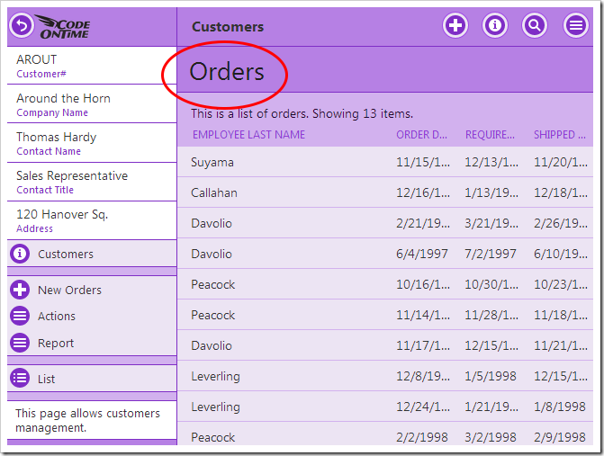 "The ""Orders"" page header is displayed below the title bar."