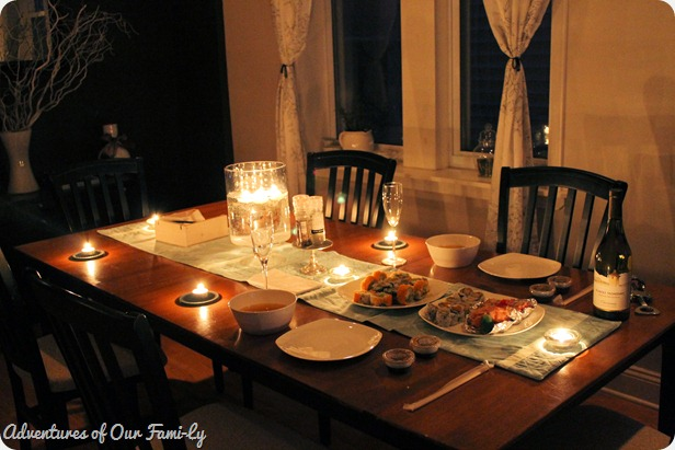 valentine's date sushi table