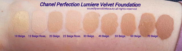 Chanel Perfection Lumiere Velvet Matte Foundation; Review & Swatches of Shades 10, 12, 20, 22, 30, 40, 50, 60, 70