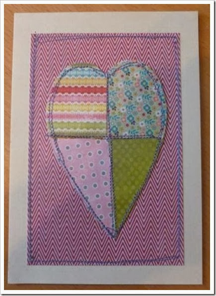 machine sewn paper heart