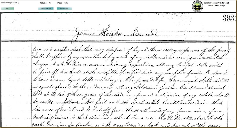 James Harper Will vol 9 page 393 part 1a HamiltonCo,OH