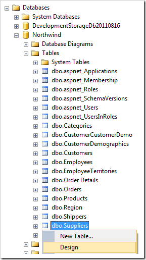 Design context menu option for Suppliers table node in the Object Explorer.