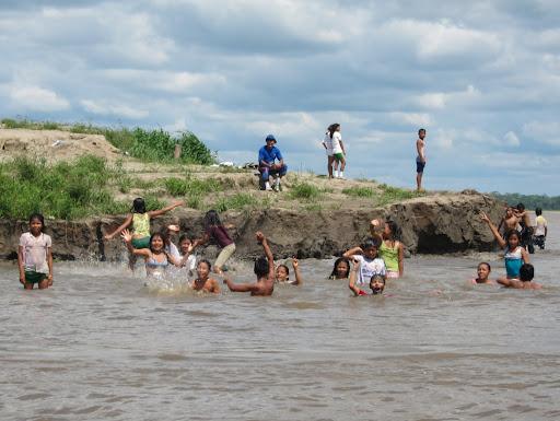 Children swimming, bathing, and having fun