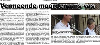 Bezuidenhout Pietz moord Potchefstroom Herald 21 October 2011 article