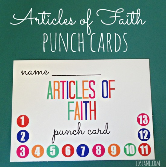 Articles of Faith Free Printable Punch Cards by ldslane.com