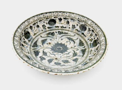 Plate | Origin:  Iran | Period: late 16th-early 17th century | Details:  Not Available | Type: Stone-paste painted under glaze | Size: W: 20.5  cm | Museum Code: S1997.66 | Photograph and description taken from Freer and the Sackler (Smithsonian) Museums.