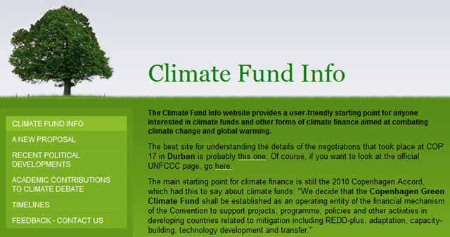 Screenshot of the Copenhagen Green Climate Fund web site, 8 May 2012. http://climatefund.info