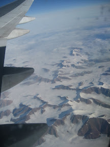 Over some part of frozen Canada. It is a trans-polar flight from Paris to SFO.