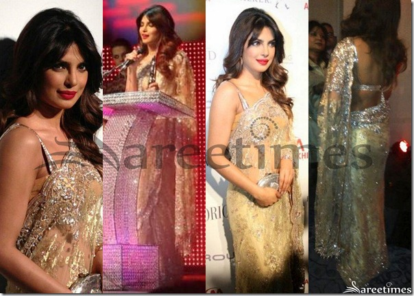 Priyanka_Chopra_Gold_Netted_Saree